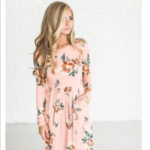 Modest Boutique Fall Floral Blush Midi Dress